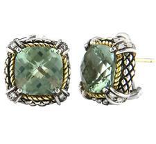 18k & Argento Taglio Cushion Verde Ametista Diamante Omega Orecchini a Clip