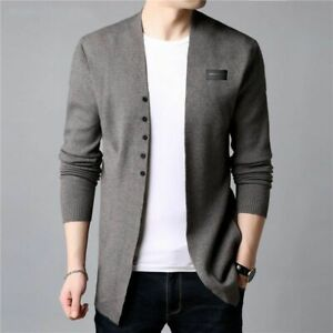 Casual Knitted Cotton Wool Sweater Male Clothes Autumn Winter Cardigan For Men