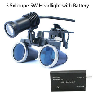 Dental Magnifier Loupes 2.5X 3.5X Magnification Binocular Lens 3W 5W Headlight