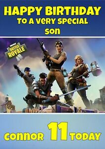 Personalised Fortnite Birthday card  any name/relation/age