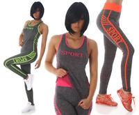 Tuta donna sport completo leggings top canotta vogatore pantaloni fitness nuova