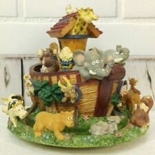Noahs Ark Music Box Round Spinning Raindrops Keep Falling Animals Bible Nursery