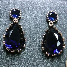 Sparkling Blue Sapphire Earrings Women Engagement Jewelry 14K Gold Plated Gift