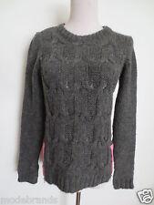 Winter Pullover DIVIDED H&M S 34 wie handgestrickt grau rosa RV TIP TOP /I1