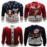 Mens Big Size Christmas Novelty Santa Reindeer Crew Neck Jumper 2XL 3XL 4XL 5XL