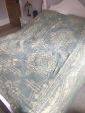 Beautiful Blue And Cream Vintage Wool Orr Health Bed Blanket Flower Design