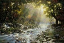 River of Light by Larry Dyke Fisherman, Landscape Print 12x9