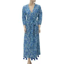 Rhode Lena Wrap Maxi Dress Tassel Floral Printed Cotton Voile Blue M New 205333