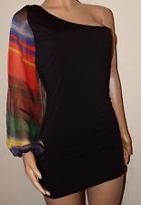 VICKY MARTIN black rainbow sheer oneshoulder sleeve bodycon mini dress 8 10 BNWT