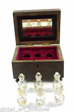 OLD VINTAGE HAND CRAFTED UNIQUE WOODEN & BRASS FITTED PERFUME BOTTLE BOX. G14-99
