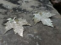 Silver Dipped Real Maple Leaf Drop Dangle Earrings Nature Outdoor Jewelry (SMEW)