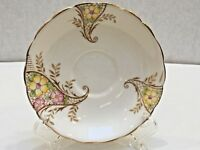 Colclough REPLACEMENT SAUCER Bone China Yellow/Pink Flowers Gilt Edge England