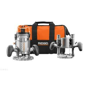 RIDGID Corded Router 11-Amp Fixed Plunge Depth Adjustment Dust Collection Base