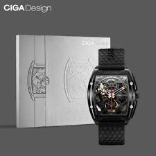 CIGA Automatic Analog Wristwatch Mechanical Skeleton Hollow Dial Timepiece Black