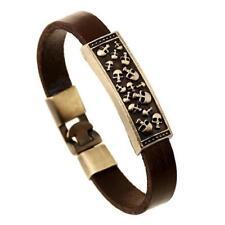 Mens Dark Brown Cowhide Leather SKULLS Bracelet Antique Bronze 8 inch