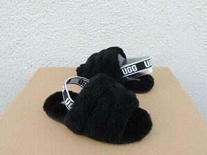 UGG BLACK FLUFF YEAH SLIDE SHEEPSKIN SANDALS, TODDLER US 11/ EUR 28.5 ~NIB