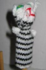 STRIPPED KITTY CAT Peruvian Hand Knit Finger Puppet Handmade Folk Art Adorable!
