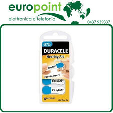 6 x Batterie Duracell 675 pile per apparecchi acustici protesi acustiche