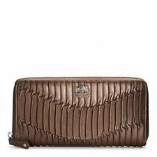 $248 NWT Coach Madison Gathered Leather Accordion Zip Wallet 46481 Bronze Brown