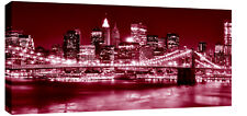 "NEW YORK  DARK RED BOX CANVAS PICTURE 42""x20"" LARGE"