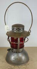 Exceptional Handlan Belled Fount Railroad/Utility Lantern w/ Red Fresnel Lens.