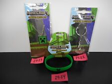 BRAND NEW!! MINECRAFT PICKAXE KEYCHAIN CREEPER NECKLACE RUBBER BRACELET 29-22-24