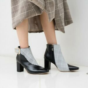 Womens Ankle Boots Chunky Heel Side Zip Check Casual Party Work Pointy Plus Shoe