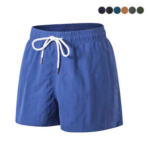 Men Swim Trunks Pockets Mesh Lining Beach Surf Boxer Brief Board Shorts Swimwear