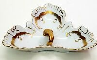 Vintage Porcelain Handled 3 Part Relish Dish Hand Painted White & Gold