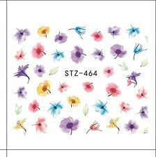 Nail Art Water Decals Stickers Transfers Summer Water Effect Flowers tulips 464