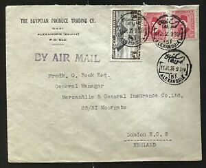 Egypt 1935. Air mail cover to Great Britain.