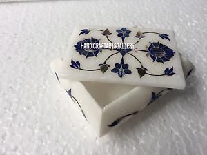"4""x3""x2"" White Marble Jewelry Box Lapis Lazuli Inlay Floral Birthday Gifts H3527"