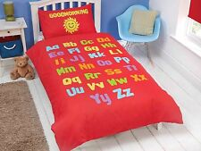 Bedtime Learning Letters Numbers Shapes Kids Bedding Set Red White Reversible