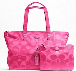 Coach Getaway Holiday Signature Nylon Packable Weekender Vermillion F77321