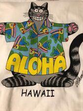 NWT B KLIBAN Aloha Hawaii Fish Tabby Cat T-Shirt Sz M Double Sided
