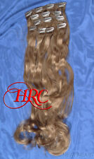 """24"""" LIGHT BROWN EUROPEAN QUALITY HUMAN HAIR EXTENSION 14 CLIP ON IN WEFT REMI QU"""