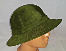 Terciopelo De Cuero Vintage Verde para Mujer Cubo Fedora HAT-US6 3 4  EU54 2fdc9280db0