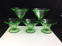 "🔵 Set of 5 Green Depression Glass 2 3/4"" Sherbet Federal Vaseline Uranium"
