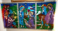 Rare MCM 1962 CRYSTOCOLOR FAUX STAINED GLASS Window Display CHRISTMAS NATIVITY