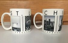 Starbucks Vintage Chicago & St Louis City Scenes Series Coffee Mug Lot Set 2003