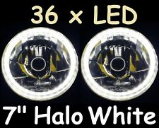 "WHITE 7"" LED Halo Head Lights Mazda RX7 808 Mini Cooper Moke MG Austin Healey"