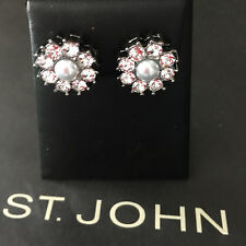 NEW ST JOHN KNIT WOMENS DESIGNER JEWELRY EARRINGS SILVER COLOR CRYSTAL FLOWERS