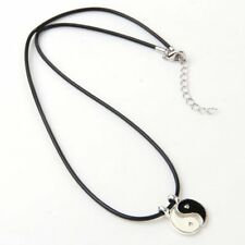 Stunning Yin and Yang Pendant Charm Necklace w/ Genuine Leather Cord Silver L2Y7