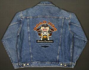 Harley-Davidson Taz Looney Tunes Road Hog Denim Jacket Mens Medium Warner Bros