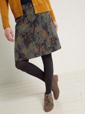 White Stuff SKIRT Almond Jacquard Skirt Leaf Print uk 16 Elasticated A-Line