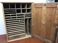 Antique Vintage Railway  Wood Cabinet Depot Tickets Railroad Cubby