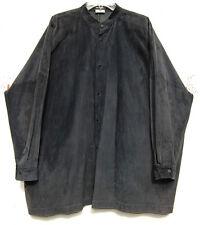 "ESKANDAR NAVY Suede Leather Mandarin Collar 32"" Long Jacket Top (2) $2890"