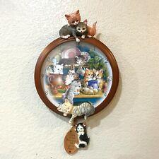 Bradford Exchange Kitten Capers Clock 2007 Cats Brace Pawprints Heart Pendulum