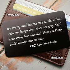 Engraved Presents for Him Her Keepsake Personalised Metal Wallet Insert Card W7