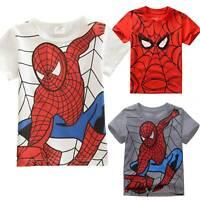 Kids Boys Spiderman Summer T-shirt Superhero Cotton Top Tee Cartoon Short Sleeve